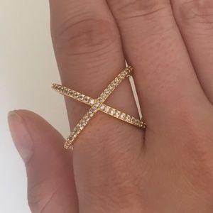 Baublebar 14k-Gold Plated Crystal Cross Ring